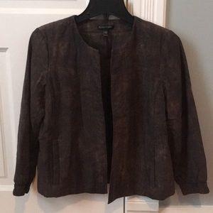 Eileen Fisher Mud Printed Silk Jacket, xs like new